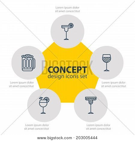 Editable Pack Of Beverage, Wineglass, Draught And Other Elements.  Vector Illustration Of 5 Drinks Icons.