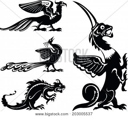 Fantastic animals, fairy birds and dragons, black and white style