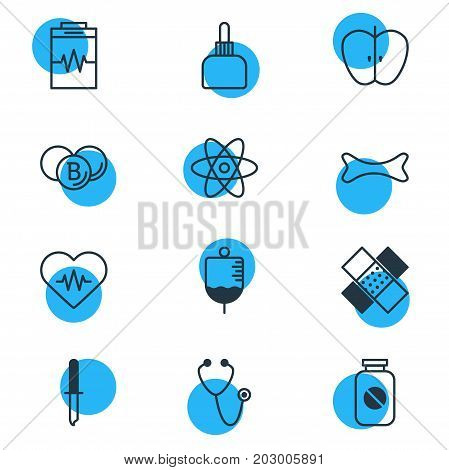 Editable Pack Of Aspirin, Osseous, Patch And Other Elements.  Vector Illustration Of 12 Medicine Icons.