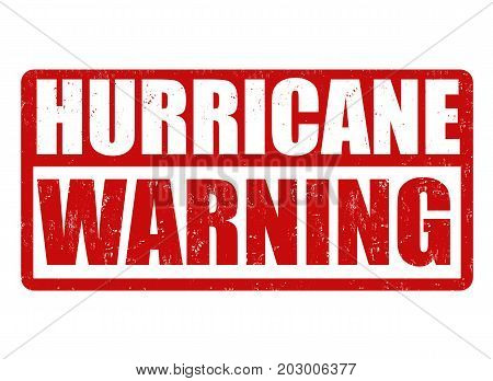 Hurricane Warning Sign Or Stamp