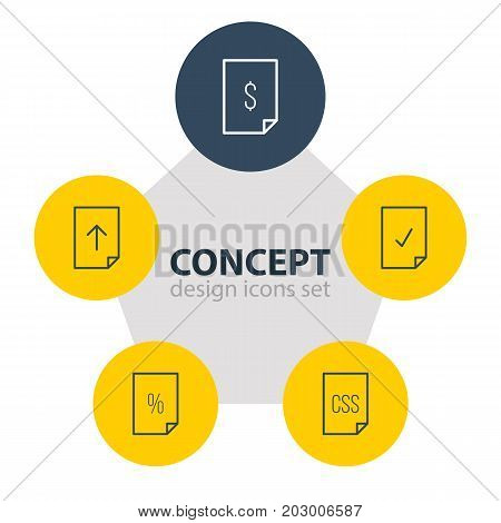 Editable Pack Of Download, Done, Percent And Other Elements.  Vector Illustration Of 5 Document Icons.