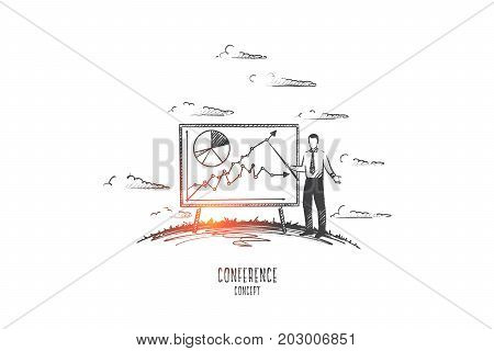 Conference concept. Hand drawn man with pointer near board with schedule. Work conference at office isolated vector illustration.