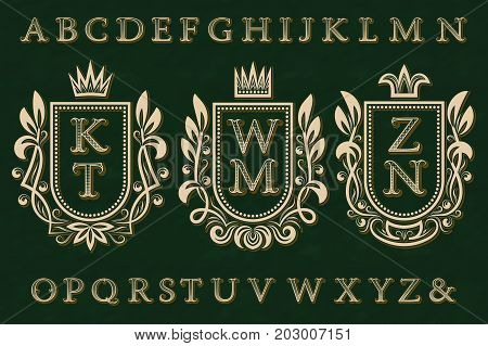 Vintage initial logos kit. Coat of arms frames, patterned letters, isolated alphabet.