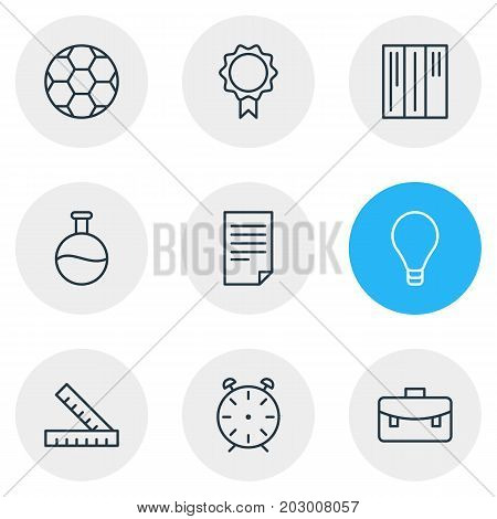 Editable Pack Of Football, Meter, Bulb And Other Elements.  Vector Illustration Of 9 Science Icons.