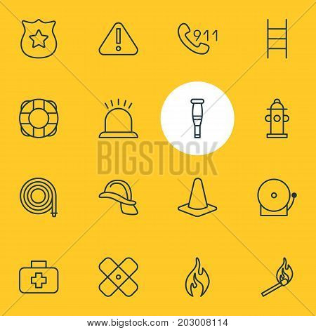Editable Pack Of Fire, Hosepipe, Medical Case And Other Elements.  Vector Illustration Of 16 Extra Icons.