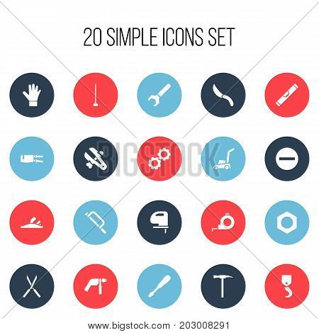 Set Of 20 Editable Equipment Icons. Includes Symbols Such As Gauntlet, Handsaw, Drill