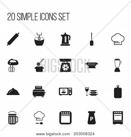 Set Of 20 Editable Restaurant Icons. Includes Symbols Such As Oven, Plates With Glass, Skimmer And More