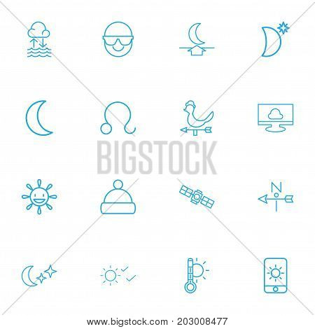 Set Of 16 Editable Air Outline Icons. Includes Symbols Such As Sputnik, Moon Up, Thermometer And More