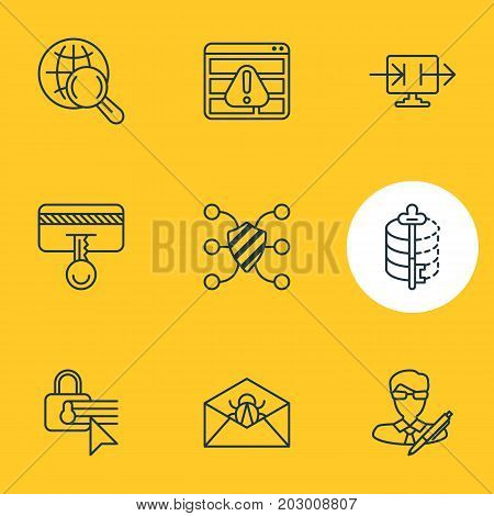 Editable Pack Of Browser Warning, Confidentiality Options, Send Information And Other Elements.  Vector Illustration Of 9 Protection Icons.