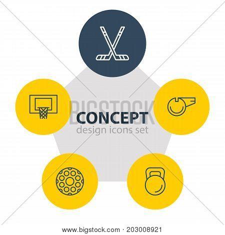 Editable Pack Of Basketball, Stick, Hockey And Other Elements.  Vector Illustration Of 5 Fitness Icons.