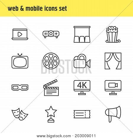 Editable Pack Of Spectacles, Television, Coupon And Other Elements.  Vector Illustration Of 16 Cinema Icons.