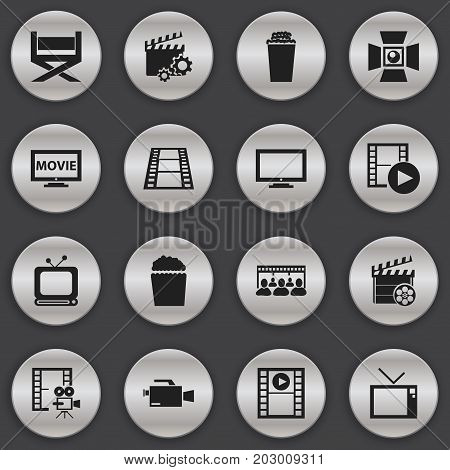 Set Of 16 Editable Cinema Icons. Includes Symbols Such As Video Camera, Film, Cinema Snack And More