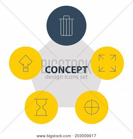 Editable Pack Of Hourglass, Positive, Garbage And Other Elements.  Vector Illustration Of 5 User Icons.