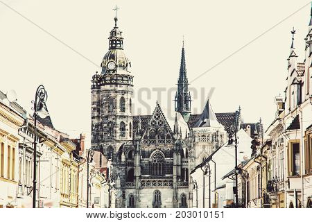 Spectacular St. Elisabeth cathedral in Kosice Slovak republic. Architectural scene. Travel destination. Art photo filter.