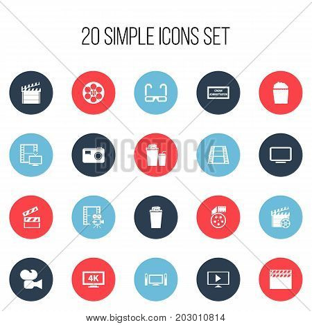 Set Of 20 Editable Filming Icons. Includes Symbols Such As Clapper, Reel, Cinematography And More