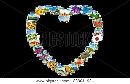 Heart shape made of nature photos