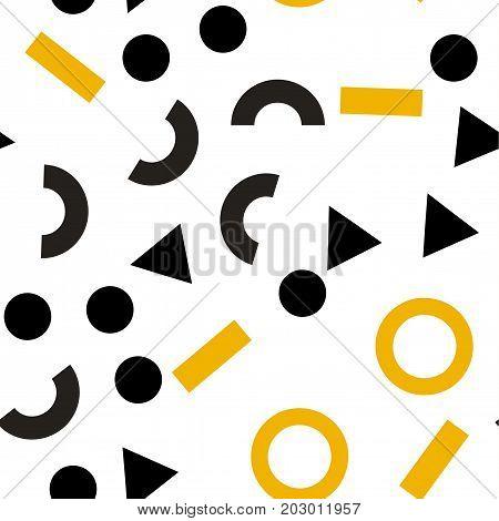 Geometric abstract background. Seamless primitive jumble minimalism pattern. Retro, vintage backdrop. Randomly scattered geometric shapes. Vector illustration.