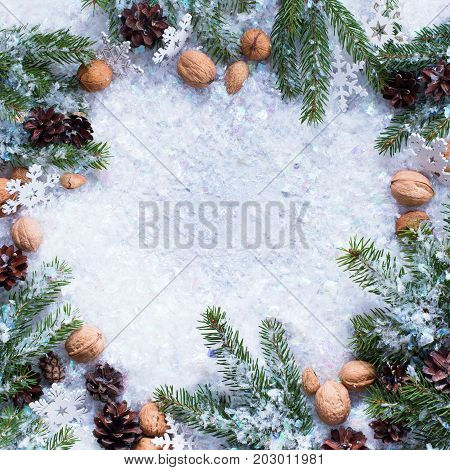 Festive Vintage Branches Coniferous Walnuts Pine Cone