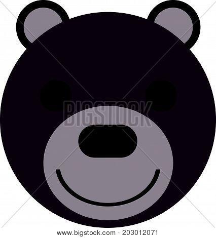Face of cute happy teddy bear illustration. Animal illustration.
