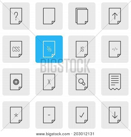 Editable Pack Of Upload, Internet, File And Other Elements.  Vector Illustration Of 16 Document Icons.