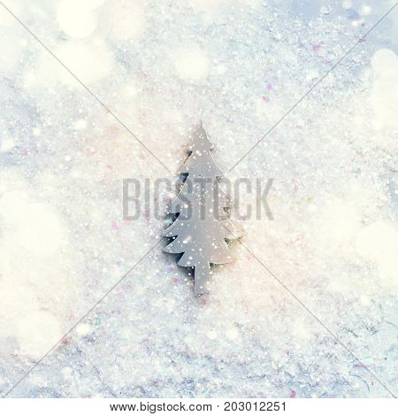Vintage Christmas Toy Fir Tree Snow Background