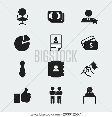 Set Of 12 Editable Business Icons. Includes Symbols Such As Currency, Rally, Cv And More