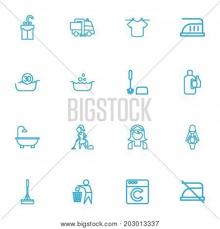 Set Of 16 Editable Hygiene Outline Icons. Includes Symbols Such As Do Not Iron, Swob, Industrial And More