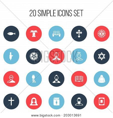 Set Of 20 Editable Religion Icons. Includes Symbols Such As Feng ShUI, Tribal Mask, Gospel And More