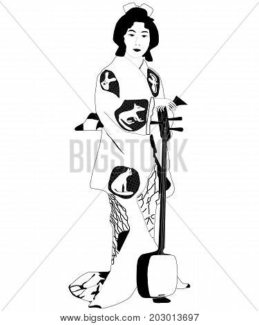 Geisha. Black and white illustration on an isolated background