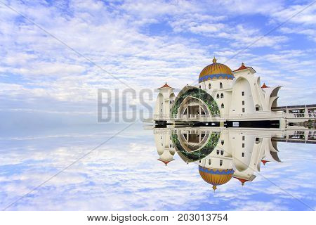 Majestic view of Malacca Straits Mosque .
