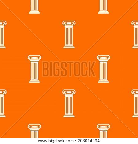 Roman column pattern repeat seamless in orange color for any design. Vector geometric illustration