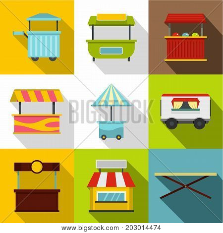 Street food truck icon set. Flat style set of 9 street food truck vector icons for web design