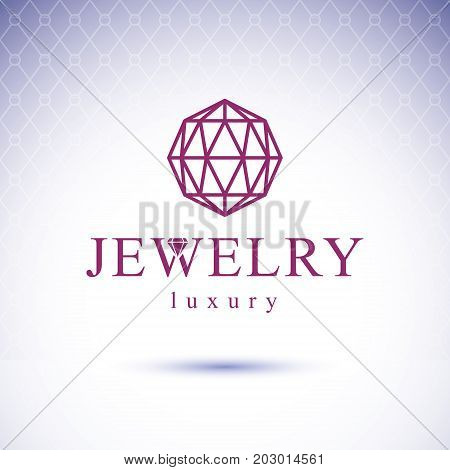 Vector shining gemstone design element. Brilliant jewelry sign emblem illustration.