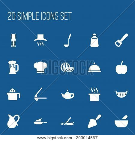 Set Of 20 Editable Food Icons. Includes Symbols Such As Cook Cap, Crusher, Kitchenware And More