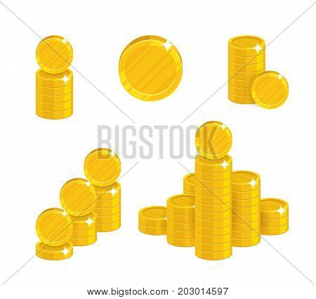 Cartoon coin heaps. Exceeding income goals, calculating high income and a large capital base. Business finance and economy concept. Cartoon vector illustration isolated on white background