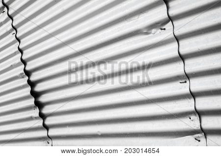 Shiny Metal Wall Made Of Corrugated Iron