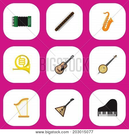 Set Of 9 Editable Music Flat Icons. Includes Symbols Such As Electro, Zither, Sax And More