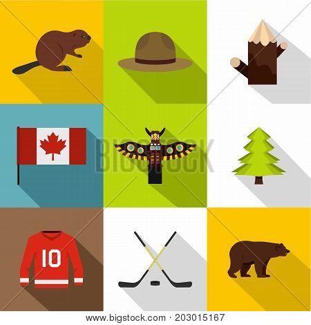 Canadian symbols icon set. Flat style set of 9 canadian symbols vector icons for web design
