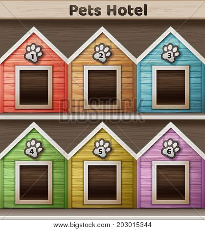 Vector illustration of hotel for pets, colored doghouse isolated on background