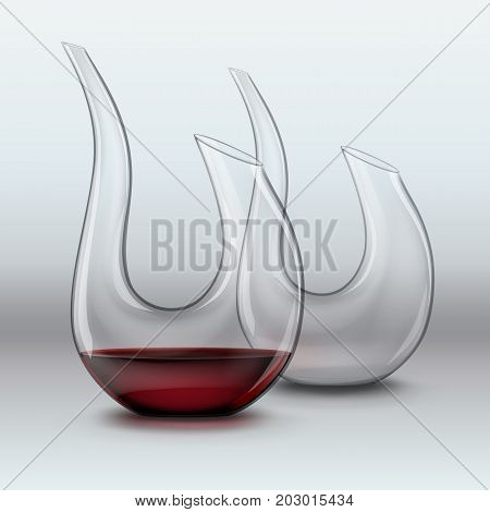 Vector illustration of graceful decanters, empty and with red wine on gray gradient background