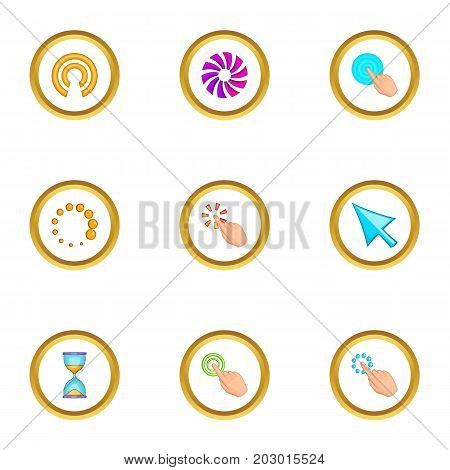 Cursor icons set. Cartoon set of 9 cursor vector icons for web isolated on white background