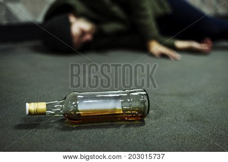 Homeless Alcoholism Drunk Man Sleeping on The Floor