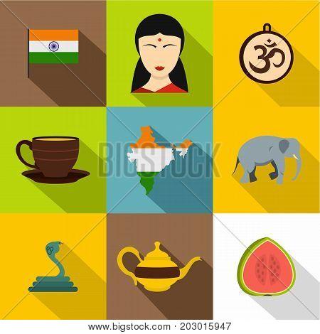 Indian symbols icon set. Flat style set of 9 indian symbols vector icons for web design