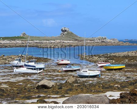 View of the harbour at low tide at Beg Ar Spins near Plougerneau, in Brittany, France.