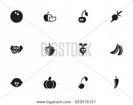 Set Of 12 Editable Cookware Icons. Includes Symbols Such As Chili, Laughing Cabbage, Gourd And More
