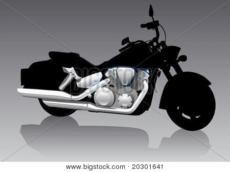 Vector graphic motorcycle on Chrom
