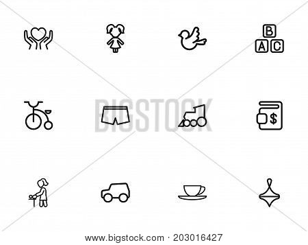Set Of 12 Editable Relatives Outline Icons. Includes Symbols Such As Heart In Hand, Shorts, Boy