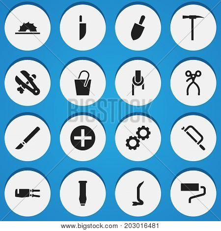 Set Of 16 Editable Equipment Icons. Includes Symbols Such As Shovel, Medical Instrument, Bore And More