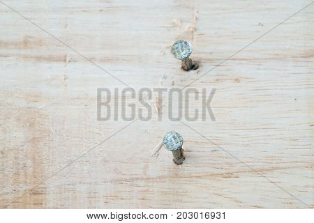 Nail In Wood Plank.