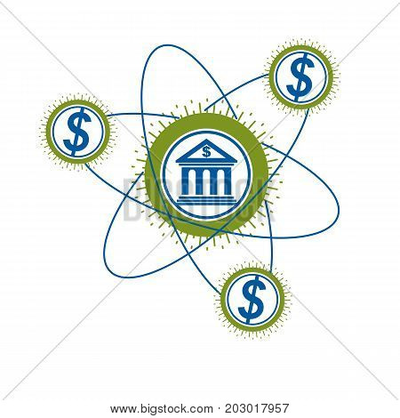 Banking and Finance conceptual logo unique vector symbol. Banking system. The Global Financial System. Circulation of Money.